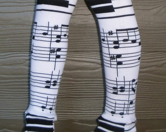 Children's Leg and Arm Warmers - Musical Notes - Leggings for Infant, Baby, Toddler, Kid, Tween - Great Birthday or Baby Shower Gift