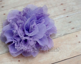 Lavender  Flower Hair Clip  - Shabby Chiffon and Lace Flower - With or Without Rhinestone Center