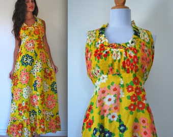 Vintage 60s 70s May Queen Yellow Floral Smocked Maxi Dress (size small, medium)