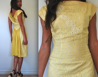 Vintage 50s 60s Yellow Lace Beaded Wiggle Dress (size small, medium)