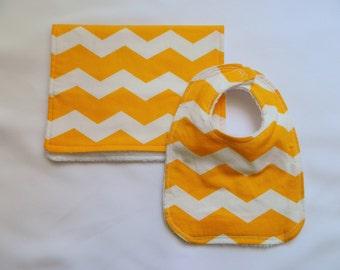 Yellow Chevron Baby Bib and Burp Cloth Set