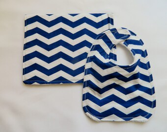Blue Chevron Baby Bib and Burp Cloth Set