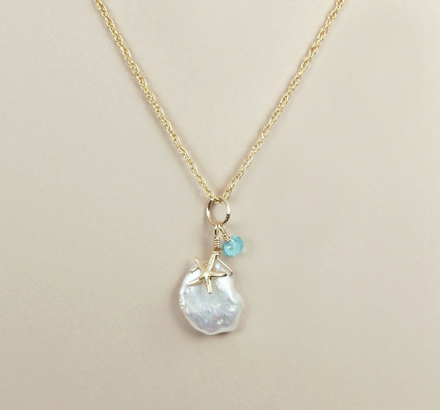 Keshi Pearl Necklace: Keshi Pearl Apatite Necklace Starfish Charm Gold Filled