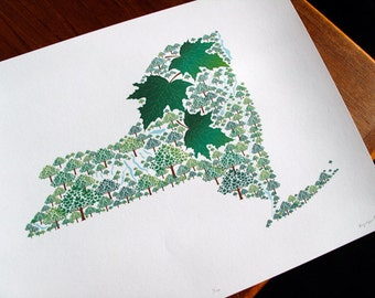 New York - State Tree print 11x14