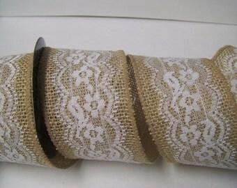 "Burlap Ribbon, Lace Burlap Ribbon, Wedding Decor Ribbon, Burlap Bows,, 2.5"" wide-4 yds.-Wreath Bows"