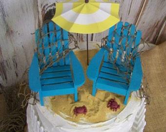 Beach Wedding Cake Topper, Adirondack Cake Topper, Beach Theme, Nautical Wedding, Adirondack Chair Cake Topper, His and Hers Cake Topper