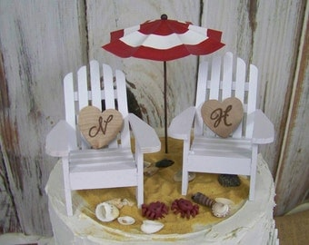 Beach Wedding Cake Topper, Adirondack Cake Topper, Beach Theme, Beach Topper, Adirondack Chair Cake Topper, His and Hers Cake Topper
