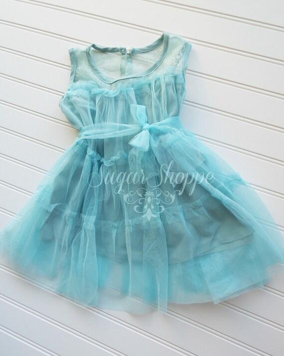 Blue Flower Girl Dress - Princess Birthday - Tulle - Light Blue - Azul Cielo - Photo Shoot - Smash the Cake - Babydoll Dress- Easter - Aqua