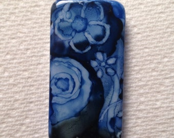 Slate and blue alcohol ink pendant