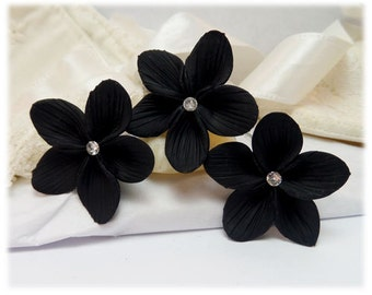 Black Hair Flowers - Black Flower Hair Pins