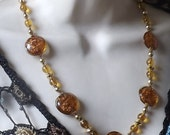 Vintage Amber Glass Necklace With Gold Inclusions