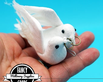 1 - Set of Wedding Doves with Rings - Fake Birds - Artificial Birds - Feathers - Millinery - Cake Topper
