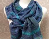 Aqua and Blue Stripes with Slate Gray Handwoven Scarf