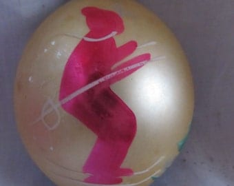 Vintage 1950's Pink Skier Hand Painted Christmas Ornament