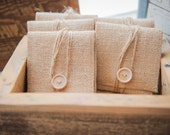10 Natural Burlap USB/Wallet Pouch with Chevron Lining