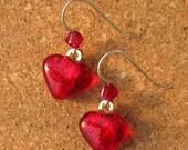 Red Dichroic Heart Earrings Glass Earrings Valentines Day Earrings Fused Glass Earrings Heart Earrings