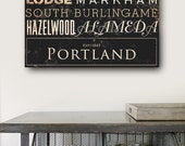 Portland Oregon neighborhoods typography graphic art on gallery wrapped canvas by Stephen Fowler