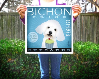 Bichon Frise dog cupcake Company illustration giclee signed artists print by Stephen Fowler