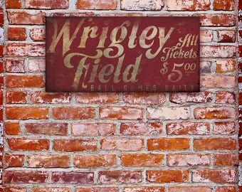 Wrigley Field Chicago vintage style baseball signage graphic art gallery wrapped canvas by Stephen Fowler