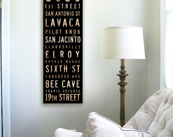 Austin Texas streets and neighborhoods typography graphic art on gallery wrapped canvas by stephen fowler