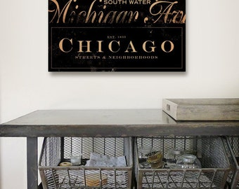 Chicago Streets Typography illustration graphic art on gallery wrapped  canvas  by stephen fowler