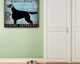 Gordon Setter dog records original graphic illustration art on gallery wrapped canvas by stephen fowler