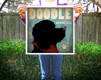 Doodle Goldendoodle Labradoodle dog Wine winery Company original illustration graphic artwork giclee archival print by Stephen Fowler