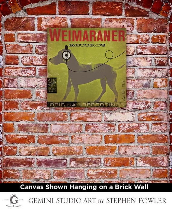 WEIMARANER dog records original illustration graphic art on gallery wrapped canvas by stephen fowler