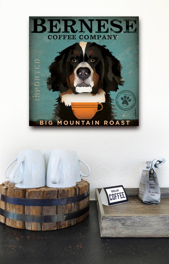 Bernese Mountain Dog Coffee Company graphic illustration on gallery wrapped canvas by Stephen Fowler