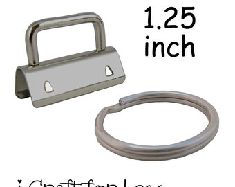 25 Key Fob Hardware with Key Rings Sets - 1.25 Inch (32 mm) - Plus Instructions - SEE COUPON