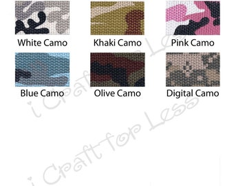 "10 Yards Camo Cotton Webbing - 1.25"" Heavy Weight for Key Fobs, Purse Straps, Belting - SEE COUPON"