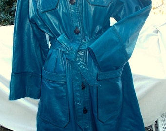 Leather Trench Coat Blue Leather The Tannery by Wards VTG sz 18  Modern sz 14 1970s Excellent Condition