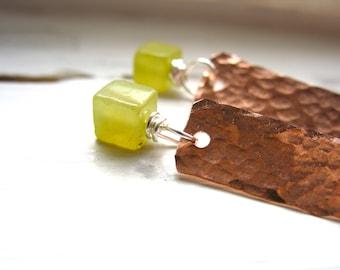 Serpentine Earrings, Lime Green Serpentine Copper Gemstone Earrings, Dangle Drop Birthstone Earrings, Metalwork Jewelry