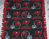 Tampa Bay Buccaneers Gray Fleece Hand Tied Blanket Baby Pet Lap  NFL Football New