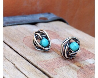Sterling Silver Knot Post Earrings with Turquoise