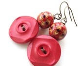 Rustic Red Chunky Button Earrings with Red, Yellow, Brown Beads