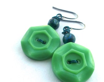 Bright Kelly Green Button Earrings with Teal  - Fun Jewelry