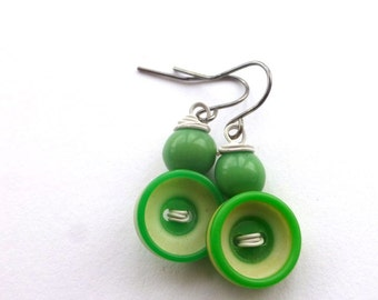 Bright Green and White Earrings made with Buttons