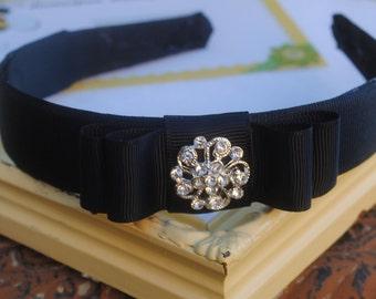 Holiday Girls Headband - Tuxedo Bows - Black Bow - Christmas Headband - Dressy Headband - Family Photo Prop -Elegant Headband - Black Tie