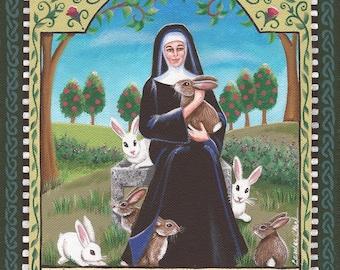 Saint Melangell - 8 x 10 Print of Original Acrylic Painting by Carolee Clark