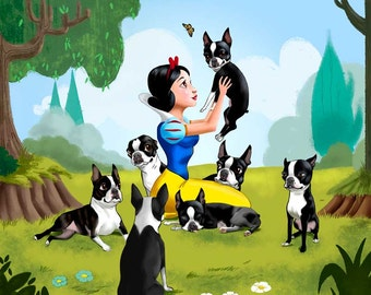 Snow White and the Seven (Dwarfs) Boston Terriers. Also comes with one Red Boston