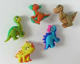 Cute Colorful Assorted Dinosaurs Novelty Buttons