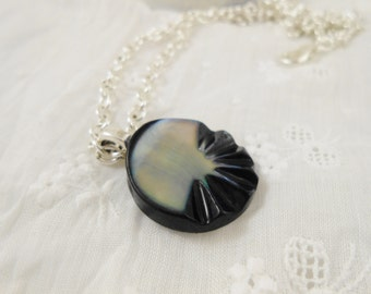 Button Necklace - Soft Two Tone Mother of Pearl