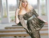 PPP Grounded Bohemian Rocker Olive Crushed Velvet Angel Oxy Tube Shirt Festival Wear