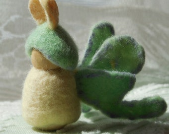 Luna Moth Child - felted peg doll - nature table doll -