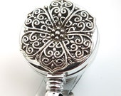 Retractable ID Badge Reel -Silver Filigree Cabochon - ID Badge Holder - Name Badge Holder 01