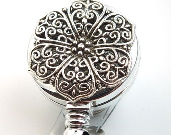Silver Filigree ID Badge Holder - Clip-On or Magnetic Badge Reel 01