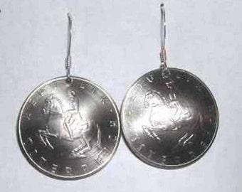 Coin earrings-Spanish Lippizaner earrings-free shipping