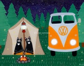 Camping in the Woods - Cat Folk Art Print 5x7, 8x10, 11x14, 16x20