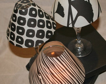 "Wine Glass Luminary ""Lamp"" Shade - Set of 6 - Black Back to Nature"